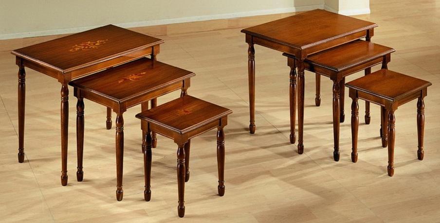 Tris tavolini piano intarsiato o liscio df mobili classici - Tris tavolini da salotto ...