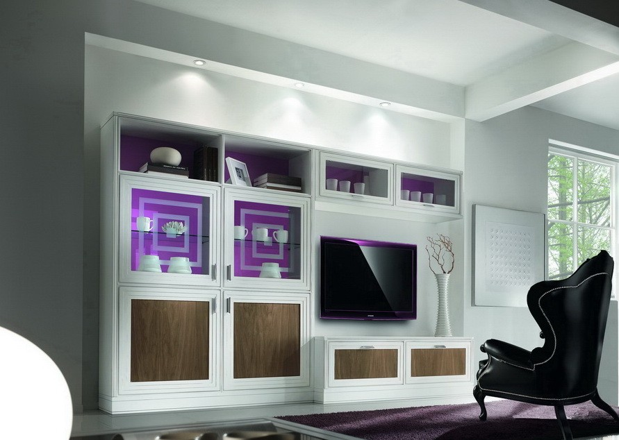 Parete soggiorno anta riquadro componibile df mobili for Parete soggiorno componibile