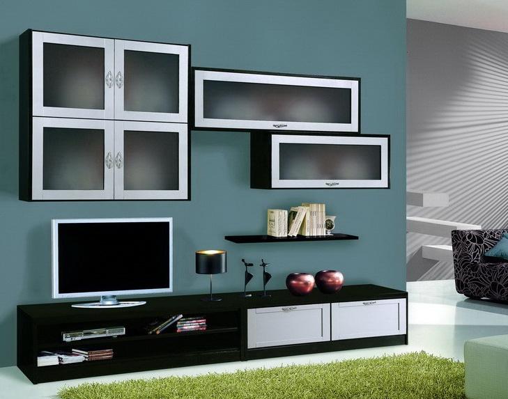 Parete soggiorno con pensili sospesi componibile df mobili classici - Mobili sospesi soggiorno ...