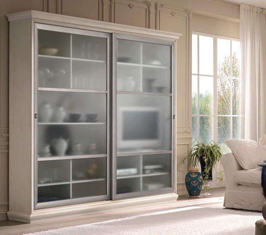 Soggiorno vetrina ante scorrevoli componibile df mobili for Vetrina soggiorno