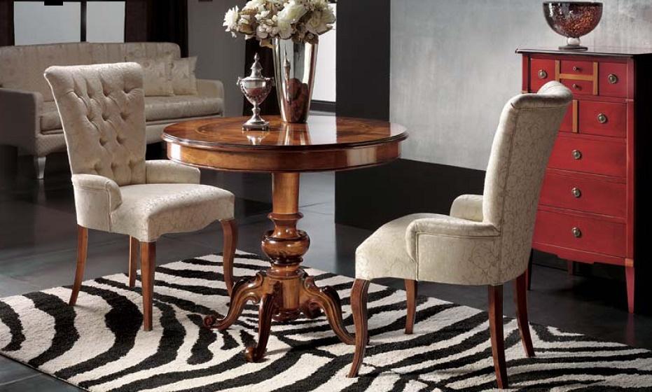 Tavolini Da Salotto In Stile Classico.Tavolino Tondo Intarsiato C Poltroncina Provenzale Df Mobili