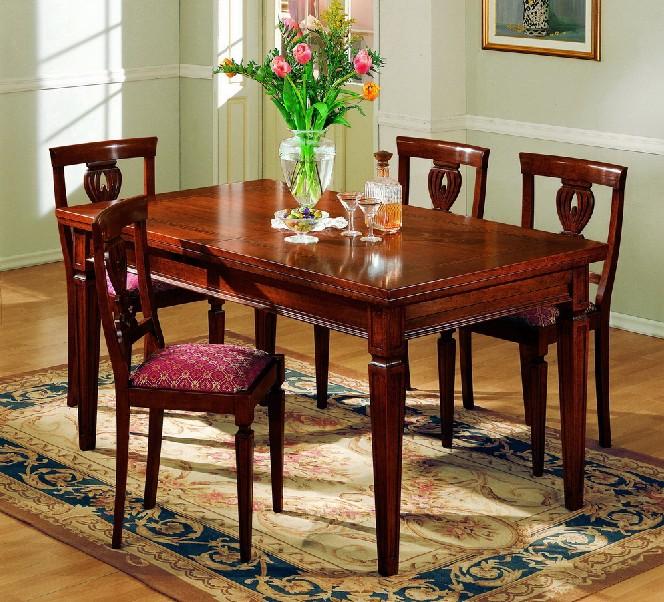 Tavolo rettangolare con greca con 2 allunghe df mobili for Tavolo classico