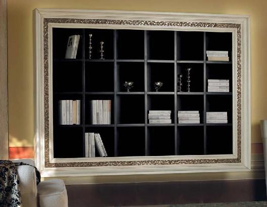 Libreria a Muro con Cornice Intarsiata   DF Mobili Classici