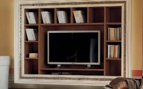 Libreria a Muro con Cornice Intarsiata, Porta Tv – DF Mobili Classici
