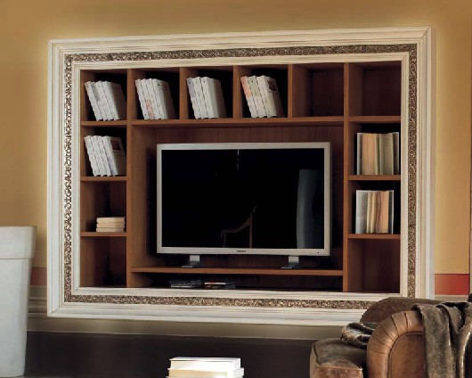 Libreria a muro con cornice intarsiata porta tv df mobili classici - Mobili tv classici ...