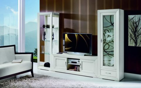 Parete soggiorno componibile laccato df mobili classici for Parete soggiorno componibile