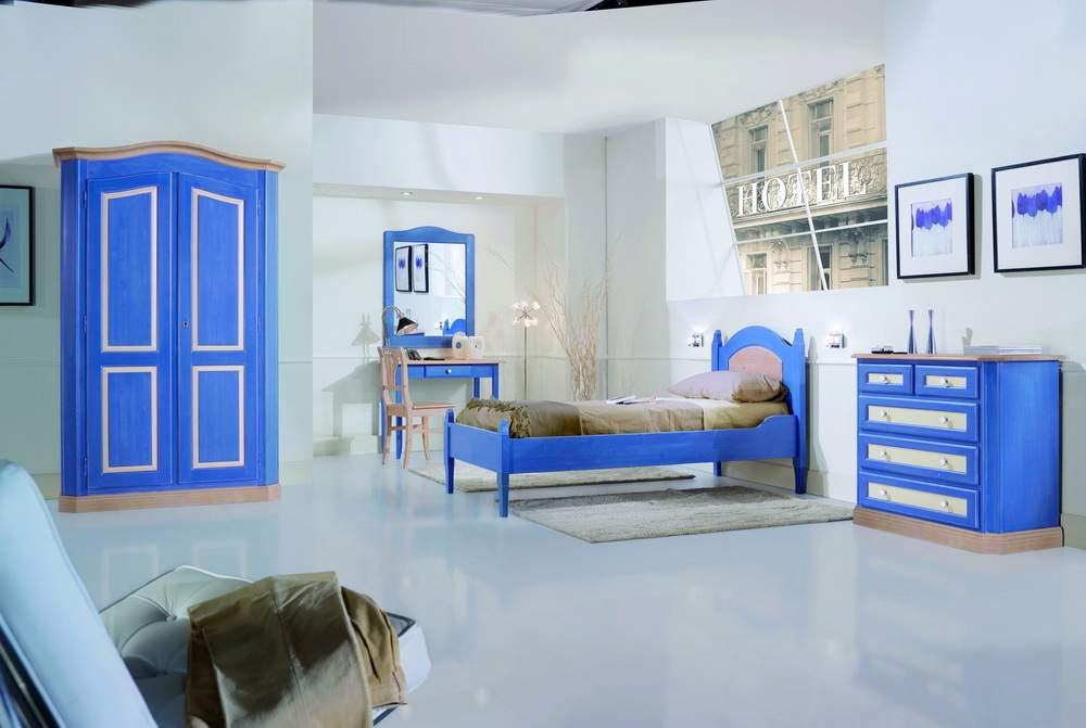 Camera da letto finitura blu avorio naturale df mobili classici - Camera da letto blu notte ...
