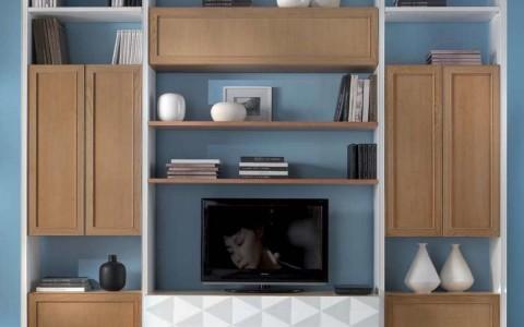 Parete soggiorno ante a telaio componibile df mobili for Parete soggiorno componibile