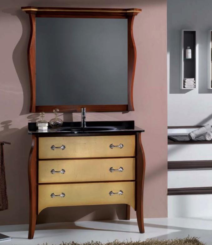 Mobile bagno legno laccato specchiera sagomata df mobili classici - Specchiera bagno legno ...