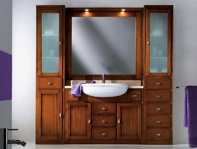 Mobile bagno legno specchiera con luci df mobili classici - Specchiera bagno legno ...